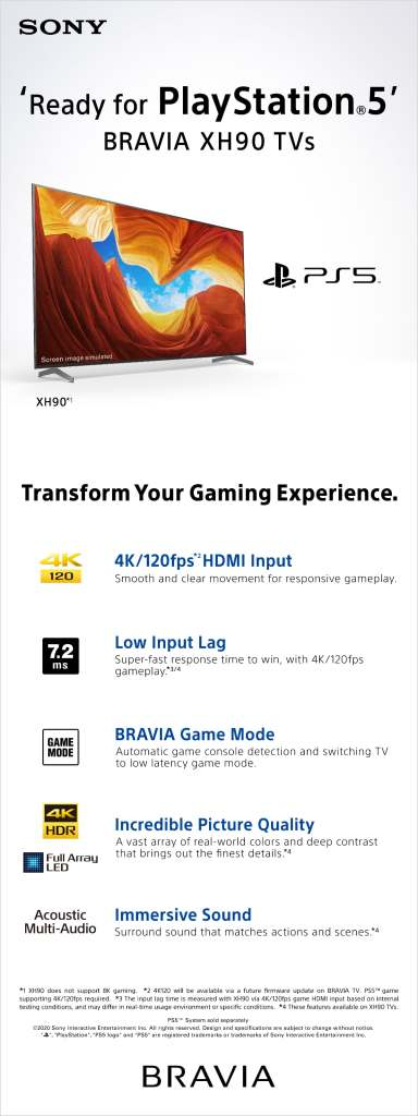 New Sony TV HX90 Ready for PlayStation 5